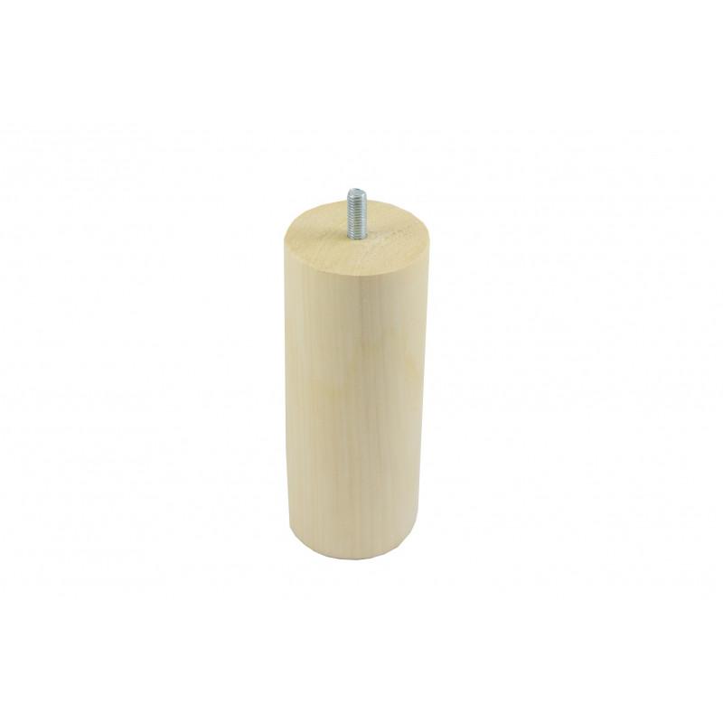 Leg round H-110mm, Ø60mm, thread M8x70/20, wooden, birch