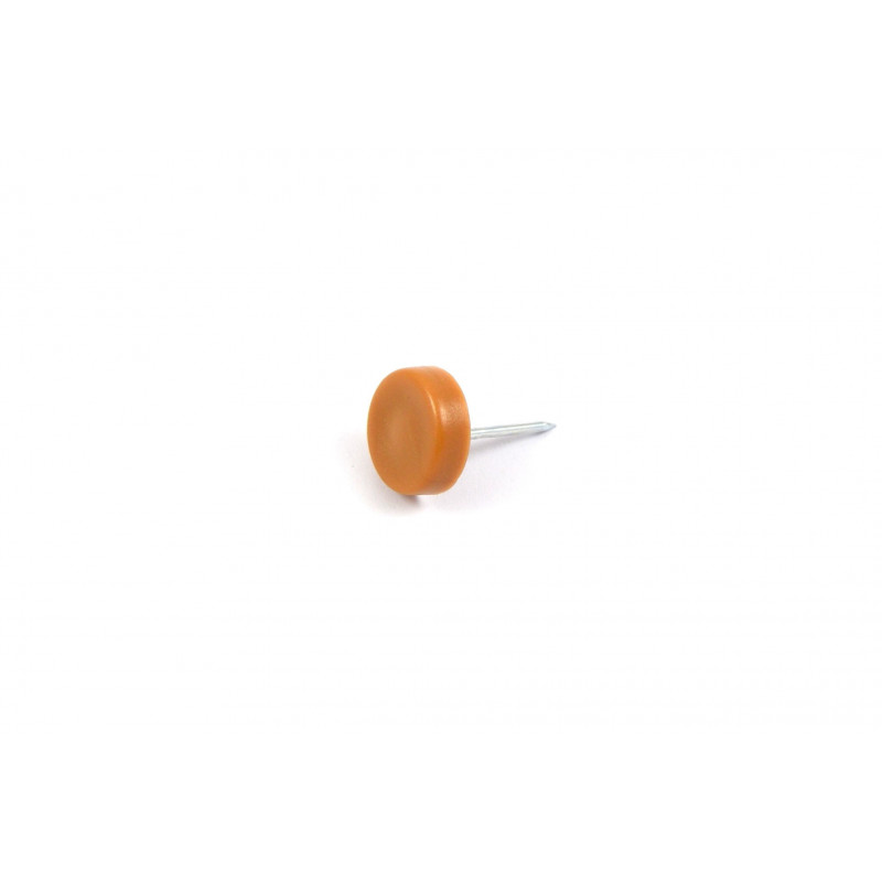 Plastic pad Ø16mm, hammered, beech, with nail