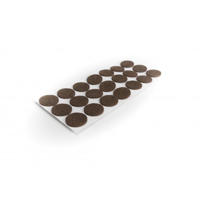 Felt pad Ø30mm, adhesive, brown