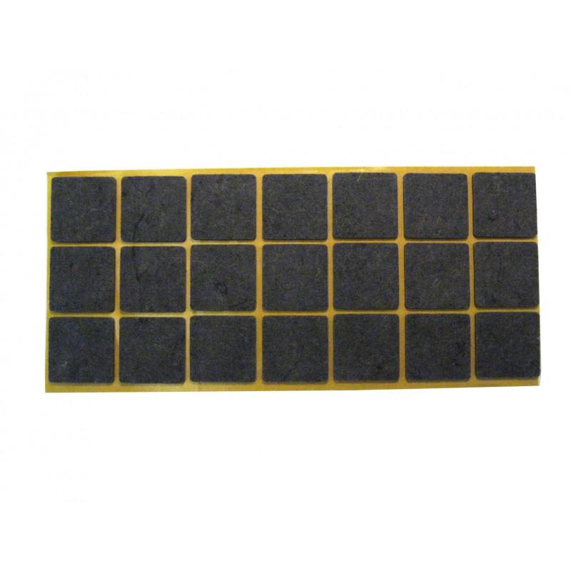 Felt pad 25x25mm, adhesive, brown