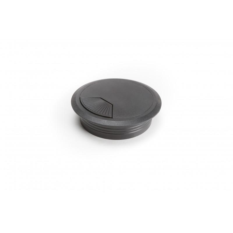 Socket for computer cable Ø80mm plastic, black