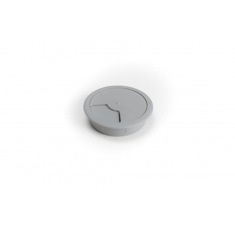 Lizdas kompiuterio laidams Ø60mm plastikinis, pilkas