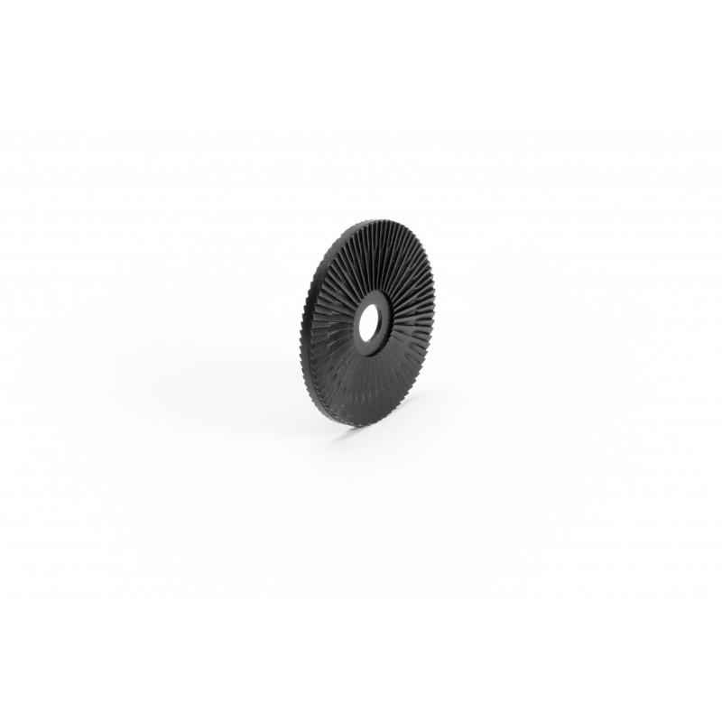 Dangtelis Ø45/8.5mm, plastikinis, juodas, rifliuotas