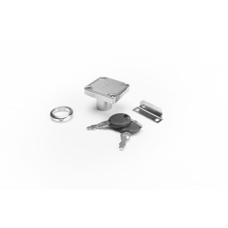 Cam lock Ø19mm, 40x40x21mm chrome plated, square
