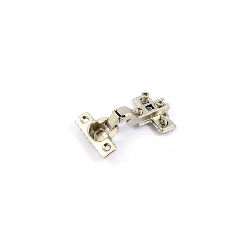 Hinge Ø26mm, half overlay, nickel, with plate with...