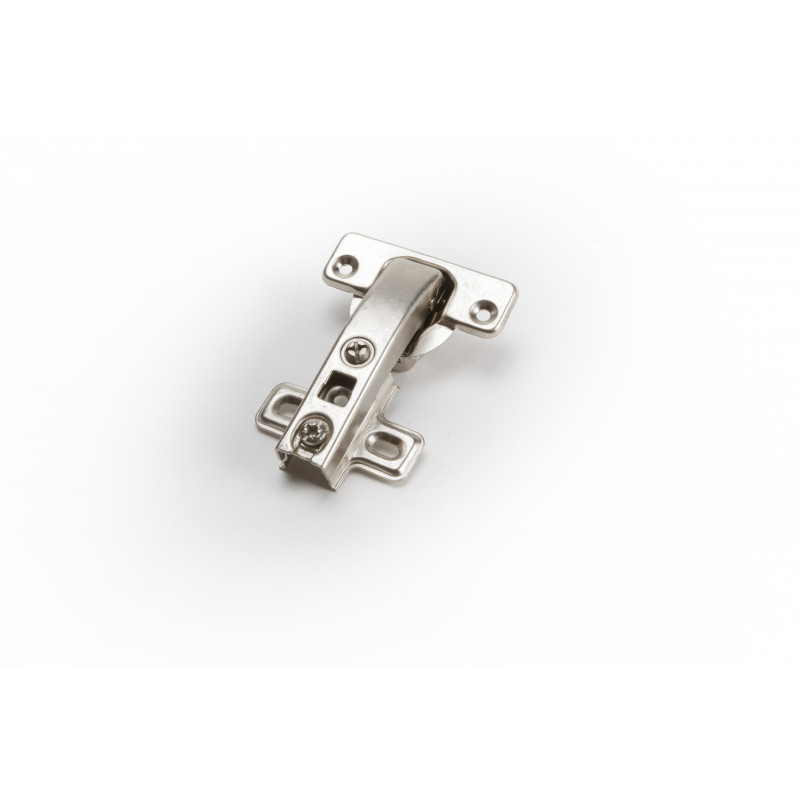 Hinge Ø26mm, 90 degree, nickel, with mounting plate...