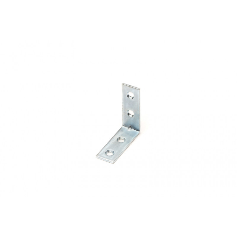 Angle 40x40x15x2 mm, galvanized, white (4 holes)
