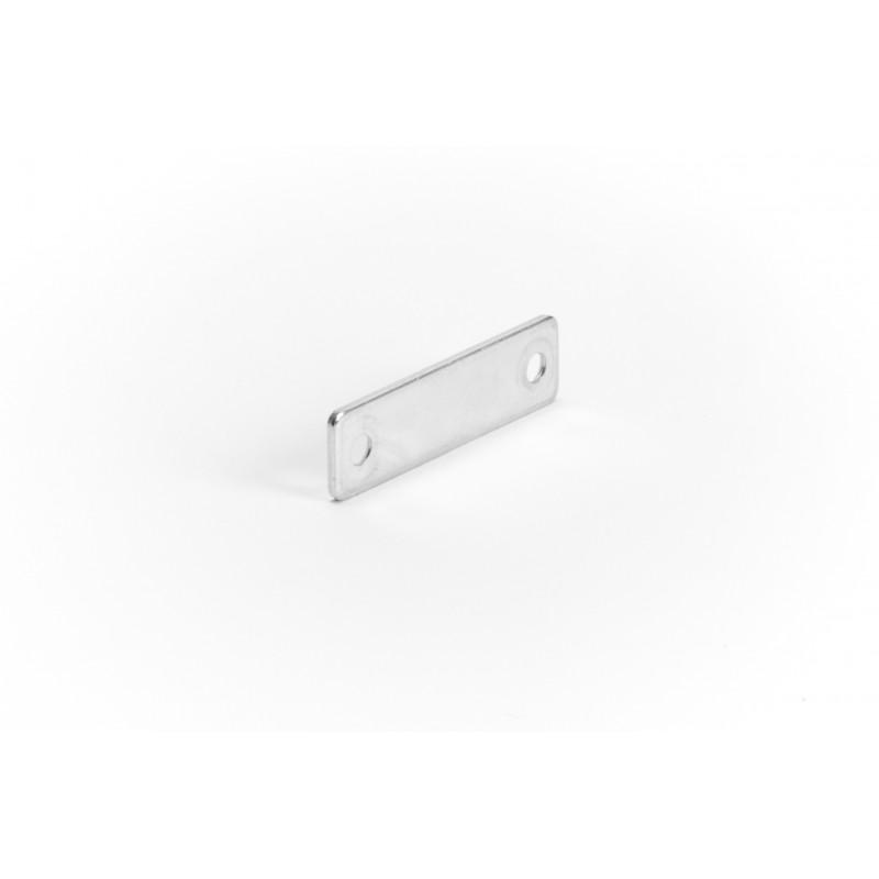 Plate 50x13,5x2 mm, galvanized, white (2 holes)