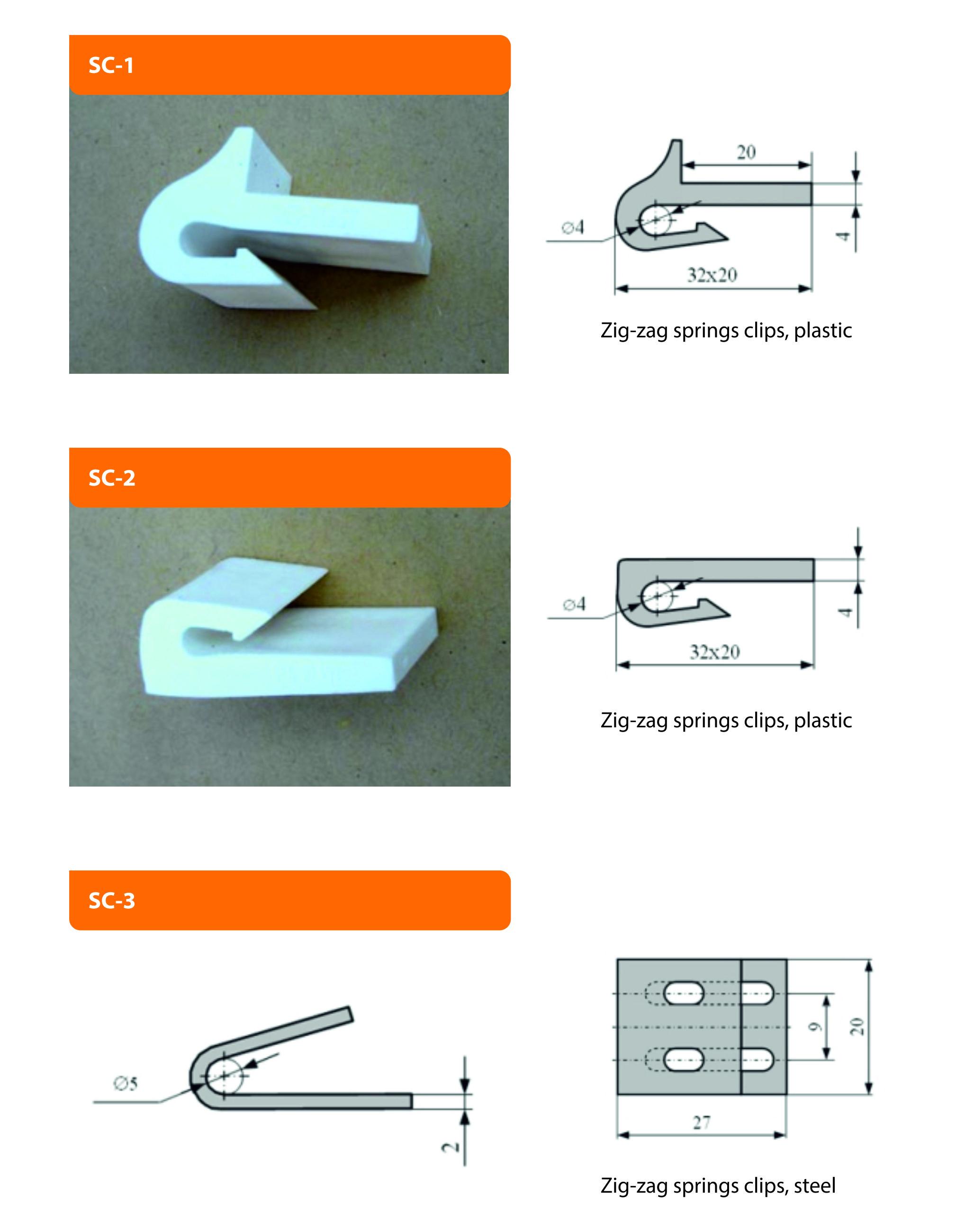 zig-zag springs clips